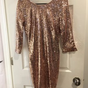 Brand new rose gold sparkly mini dress